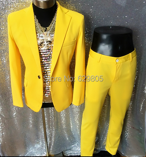 New Come Fashion Yellow Male Singer Dancer Suit Set Costume DJ Performances Hornet DS Light Men's Stage Wear Bodysuit Jacket