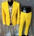 New venha moda amarelo masculino conjunto terno DJ traje cantor dançarino performances DS Hornet luz estágio wear bodysuit dos homens jaqueta