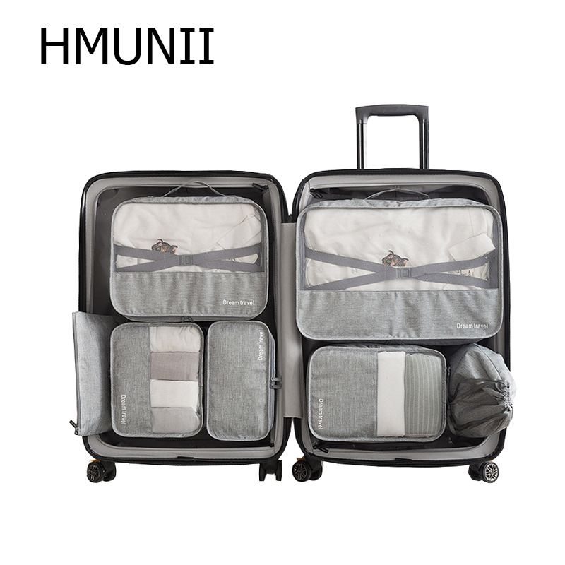 HMUNII 7Pcs Waterproof Travel Storage Bags High Capacity Mesh Clothes Packing Cube Luggage Organizer Pouch Travel Accessories garment bag