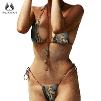 PLAVKY 2018 Sexy Leopard Halter Bandage String Biquini High Cut Swim Bathing Suit Swimsuit Micro Swimwear