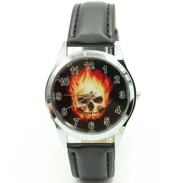 Free Shipping Marvel Super Hero Ghost Rider Fashion Skull Watch Wrist Xams Child