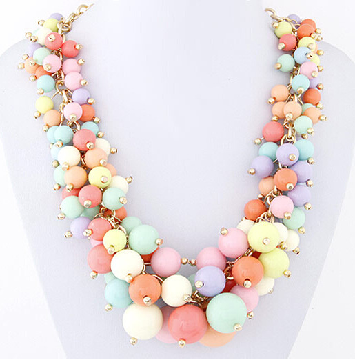 2016 Factory Price New Brand Hot Wholesale Bead Statement Necklace Fashion 5 Color Choke Necklace Pendant Women Necklaces SF25