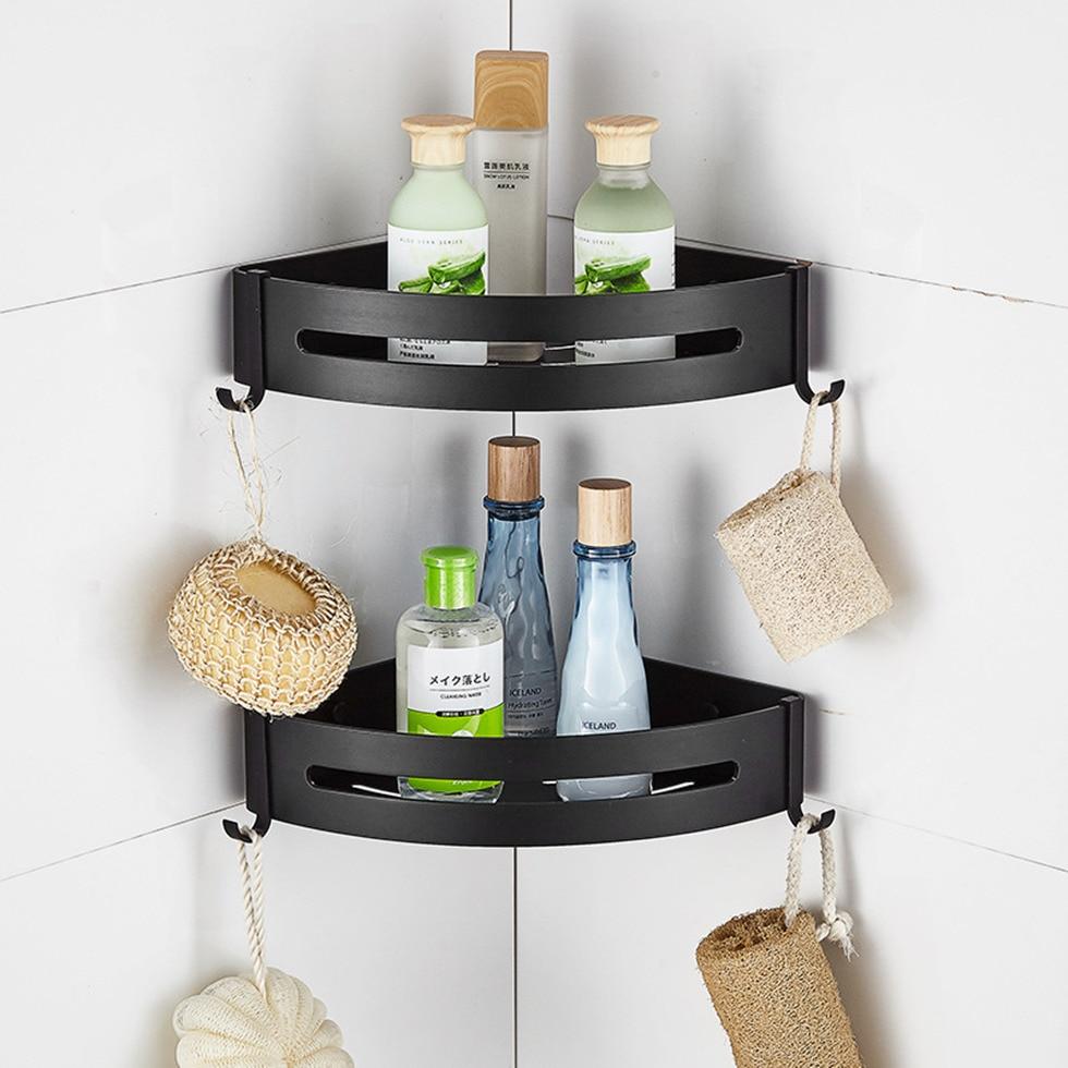 Shower Corner Caddy Bathroom Shelf Self Adhesive Glue Wall Mount Screws Heavy Duty Aluminum 1 Tier Storage Shelves Baskets Black