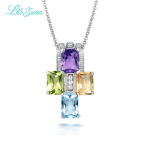 L Zuan 925 Sterling Silver Natural 1 094ct Amethyst Pendant Purple Stone Jewelry With Silver Chain