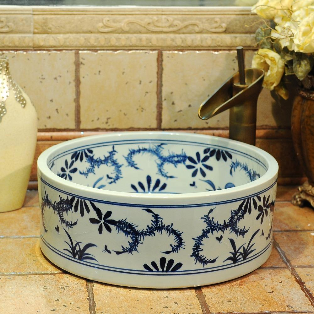 Blue And White Chinese Antique Ceramic Sink China Wash Basin Ceramic Counter Top Wash Basin Bathroom