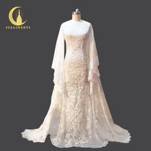 Rhine Real Sample Mermaid Wedding Dresses The shawl sleeves Lace Elegent Bridal Wedding Dresses Wedding Gown