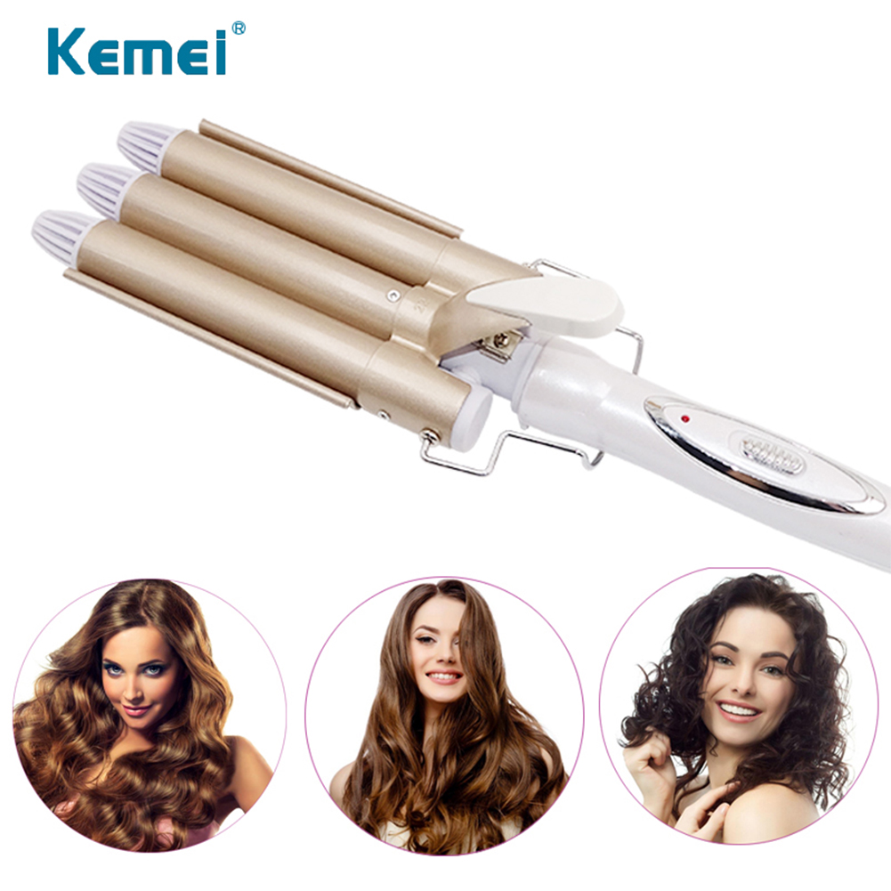 Professional Hair Curling Curler Female Iron Ceramic Heating Care Wave Styler Anti perm Triple Barrel Hair Wave Style Tool in Curling Irons from Home Appliances