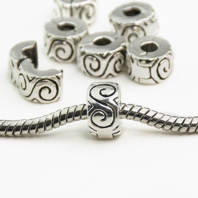 925 Clips Locks Beads Water Ripple Stopper Bead Charm European Fit Pandora Charms Bracelets