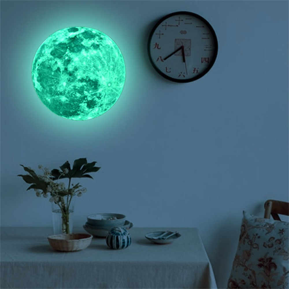Pegatinas luminosas de la pared de la historieta de la luna de la tierra para habitación de los niños brillo DIY 3D en la pared oscura pegatina decoración del hogar sala 7