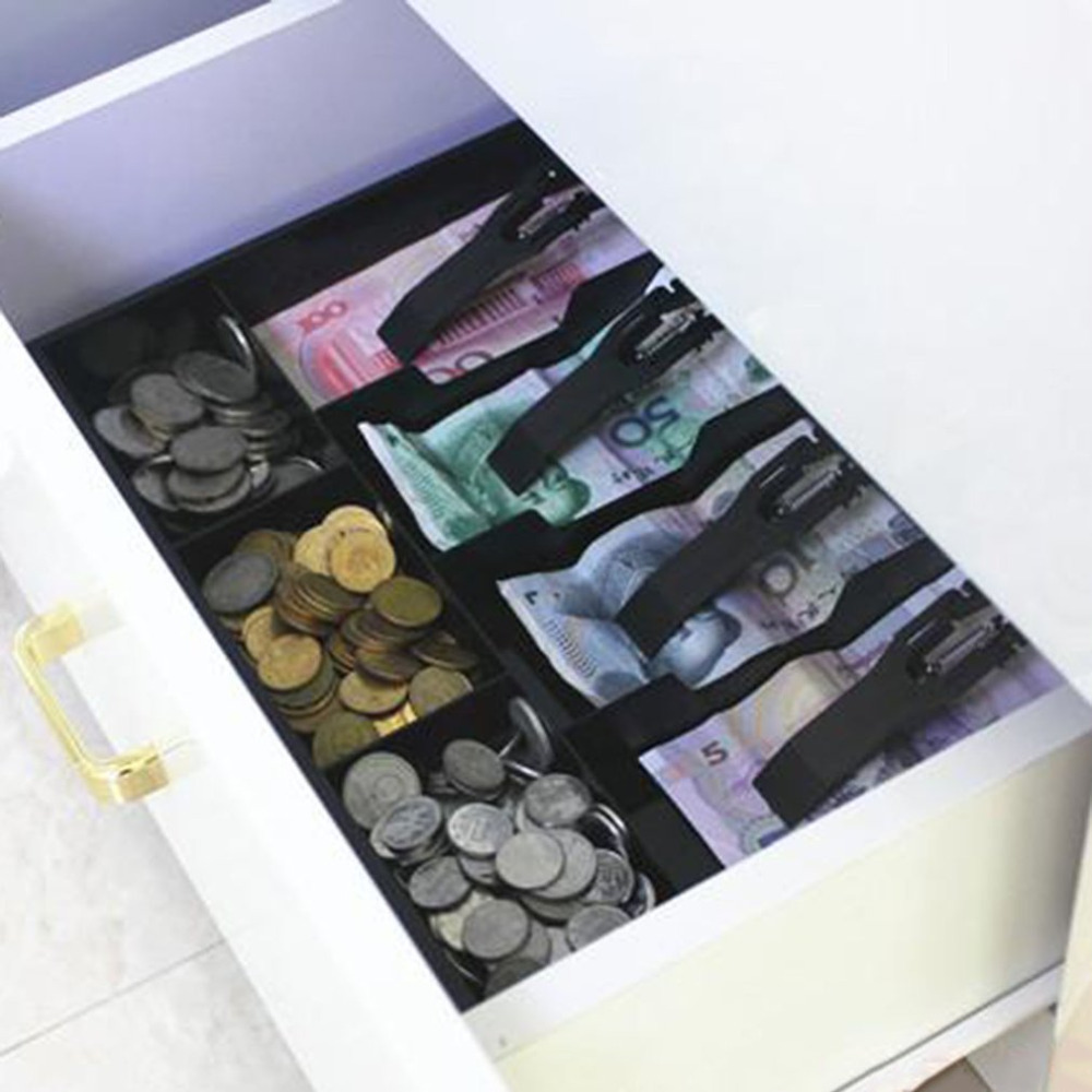 Durable ABS Money Cash Coin Register Insert Tray Replacement Cashier Drawer Storage Cash Register Tray Box Classify Organizer