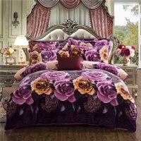 26 Colors Pink Purple Floral Thick Fleece Winter Luxury Bedding Set Queen King Size 4pcs Duvet