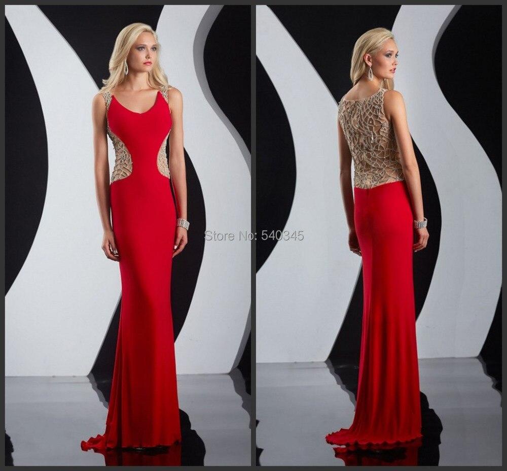 Exquisites perles à la main sur le dos rouge en mousseline de soie robe de soirée sans manches robes de fiesta robes de soirée pour Sexy Ladies