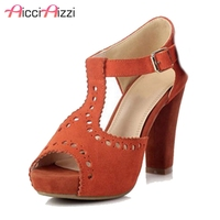 AicciAizzi Women High Heel Sandals Real Leather Peep Toe T Tied Platform Spike Heels Ladies Sandals