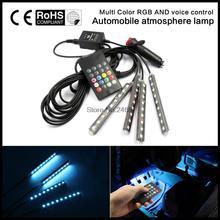 2016 Interior Decorative Atmosphere Neon Light Lamp Multi Color RGB LED Wireless  Voice Sensor Sound music control Car Lighter
