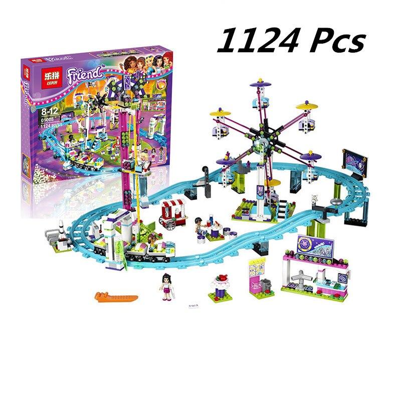01008 1024pcs Compatible with Lego blocks Friends 41130 Amusement Park Roller Coaster figure Model building toys hobbie children