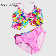 47f4a84416467 Ms.Shang 2019 New Baby Girl Swimsuit 4-12 Years Print Two Piece Children  Swimwear Toddler Child Swimsuits Bikini Swim Suit Kids