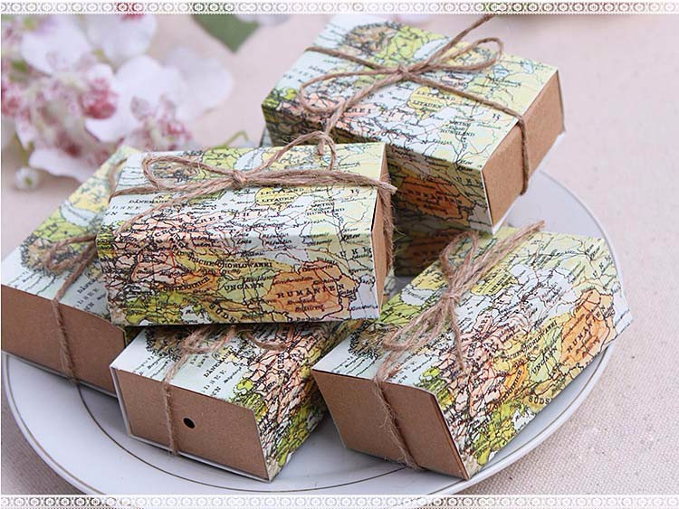 7 6 5 3cm World map Wedding Favor Candy Boxes Gift Box Food Packing Box Gift