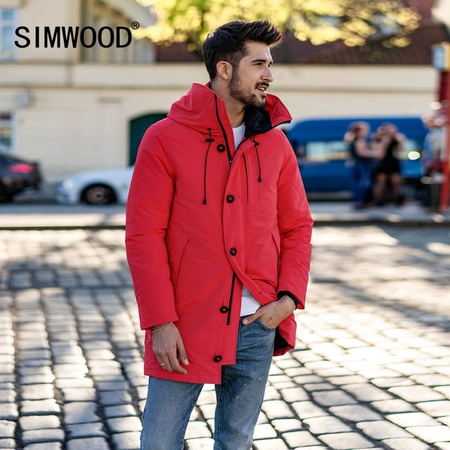 SIMWOOD 90% Grey Duck Coats Men 2018 Winter Warm  Hooded Parka Fashion Length Jackets Male High Quality Plus Size Outwear 180298