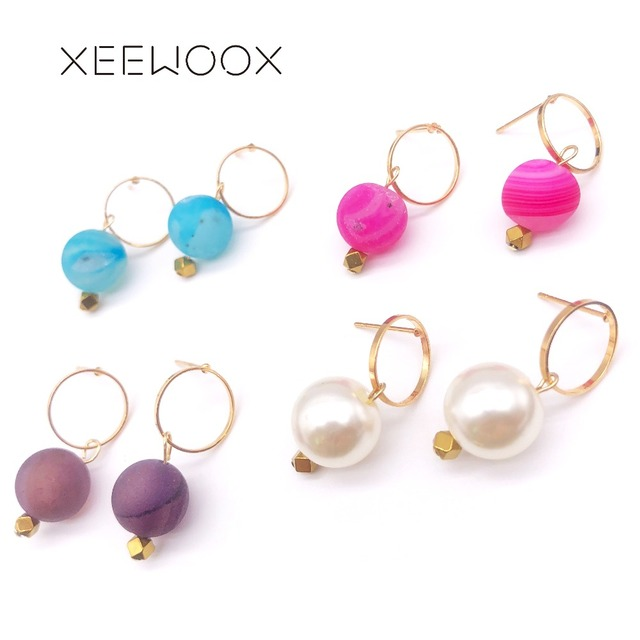 Colorful Pink Blue Purple Natural Stone White Pearl ball Drop Earring Woman Statement Drop Earring XEEWOOX Design Party Gift