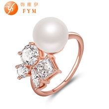 Brand New Womens Luxury Special Pearl Rings Rose Gold Color Fashion Style Ring AAA Cubic Zircon Stone for Women Wedding Party brand new womens luxury special rings romantic rose gold color fashion style ring with aaa cubic zircon stone for wedding