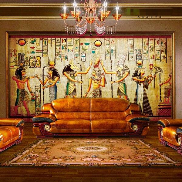 Ancient Egyptian Pharaoh Photo Wallpaper Retro Art Mural Wallpaper Hoom Decor Non Woven Paper Wall