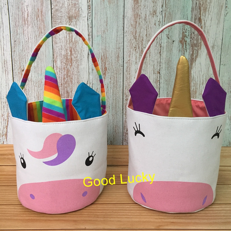30pcs lot Wholesale Monogram Cheap Easter Tote Bag New Arrival Easter Decoration Canvas Unicorn Easter Bucket