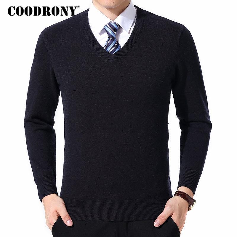 COODRONY chandail hommes vêtements 2020 automne hiver cachemire laine Pull chandails grande taille affaires décontracté col en v Pull Homme 8128