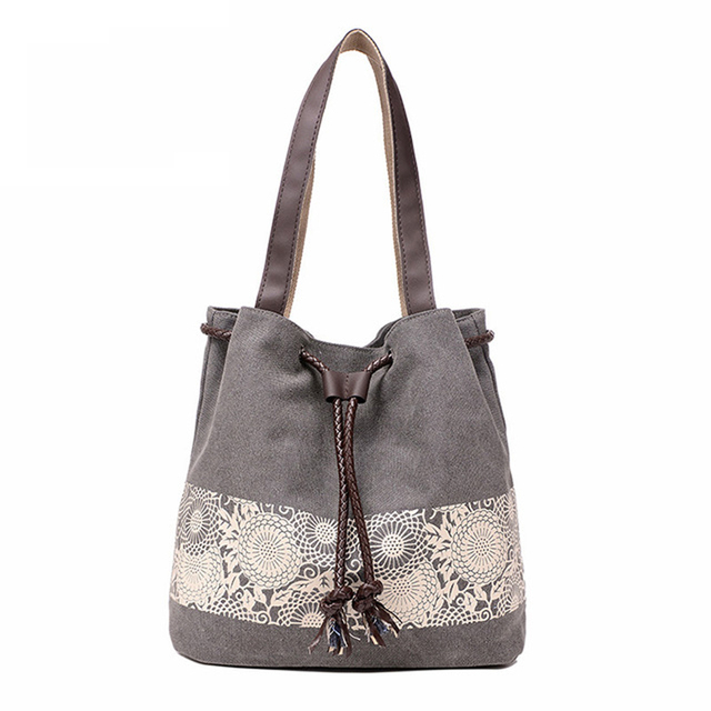 Impressão Da Lona Balde Cordão Saco Das Mulheres Bolsa de Verão Estilo Pochette Pequena Designer de Bolsas Casuais Sacos de Ombro Bolsos Mujer