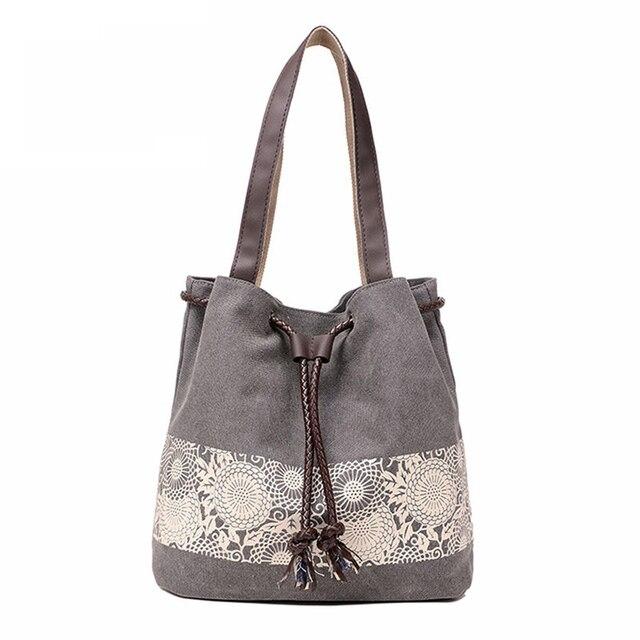 Printing Canvas Bucket Drawstring Bag Women Handbag Summer Style Pochette Small Casual Tote Designer Shoulder Bags Bolsos Mujer