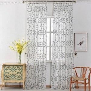 Современные Геометрические занавески из искусственного льна, полупрозрачные жаккардовые занавески в европейском стиле, готовые кухонные ...