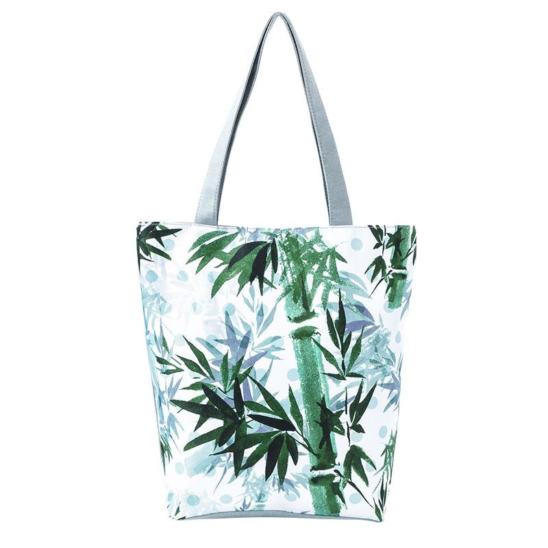 Women Shoulder Bag Canvas Zipper Printing Handbag Lady Girl Casual Bags WML99