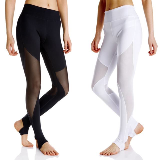 88a09d8fab1ca Wholesale female Stirrup fitness running pants professional sports leggings  black white mesh moto RACER Workout Yoga