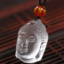 Natural Pure quartz White crystal carving Buddha Head Guardian Necklace Fashion Jewelry pendant Supernatural Amulet Knot Lucky