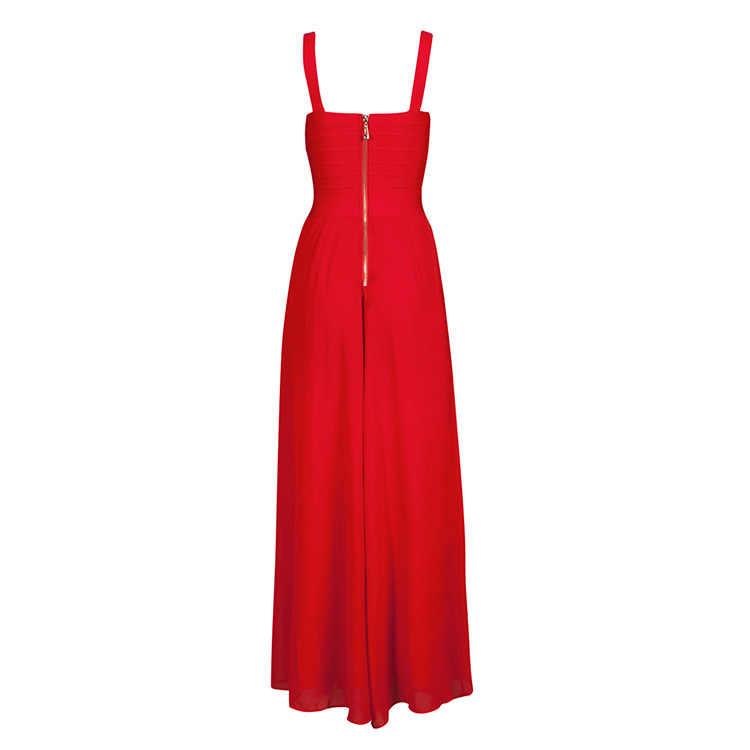 Bqueen 2017 Neue Rote Tiefem V-ausschnitt Chiffon Patchwork Spaltung Verband Kleid Maxi Kleid