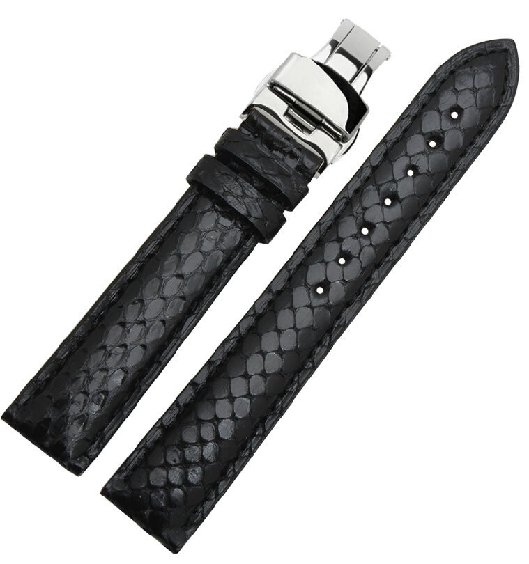 Watchbands 18mm 19mm 20mm 21mm 22mm New Black Genuine Python Skin Leather Watch Strap Bracelets Rose Gold Steel Watch Buckle new mens genuine leather watch strap bands bracelets black alligator leather 18mm 19mm 20mm 21mm 22mm 24mm without buckle