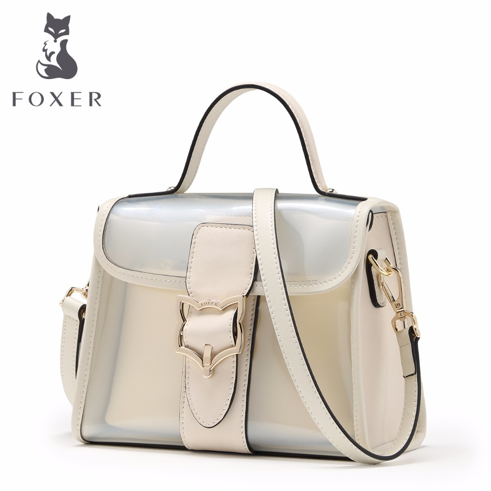 FOXER Women Leather Handbag Designer Woman Transparent Shoulder Bags Ladies Totes Small Crossbody Messenger Bag Preppy Chic yaodeniso 2017 small women messenger bags ladies handbags women bags totes woman crossbody bags shoulder fashion designer bag