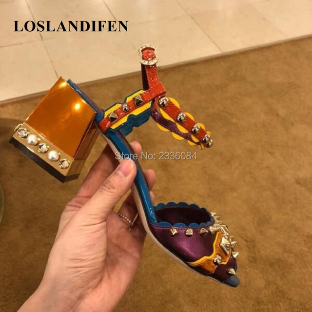 LOSLANDIFEN 2018 Brand New Luxurious Jewelry Heel Ankle Strap Sandals For Women Thick Chunky Heel Patchwork Rivets Party Shoes
