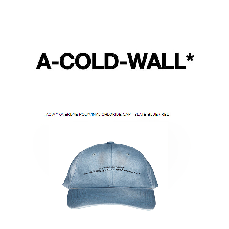2019 UK New Fashion Top Quality ACW A-COLD-WALL Women Men Unisex   Baseball     Caps   Overdye Polyvinyl Chloride   Cap   - Slate Blue/Red