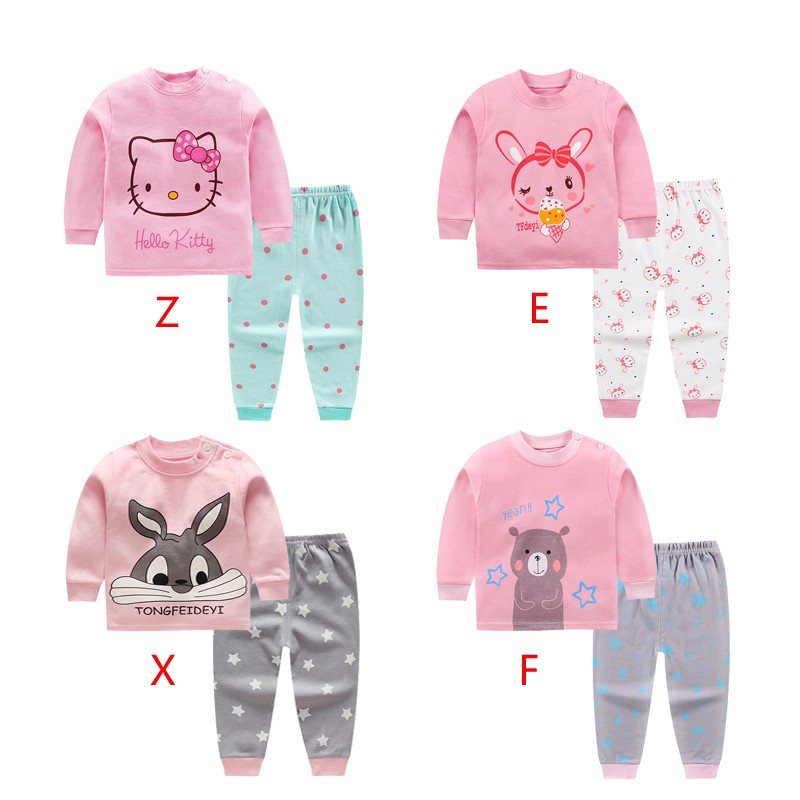 1 Set Lovely Pajamas Set For Girls Children's Sleepwear Set With Long Pants Kids Clothing Set In Summer