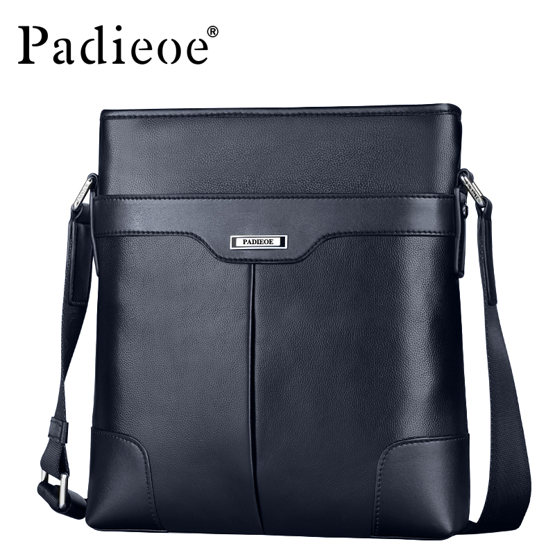 Padieoe Fashion Vintage Leather Messenger Bag Genuine Real Cow Leather Men's Handbags High Quality Man Shoulder Bag Three Colors
