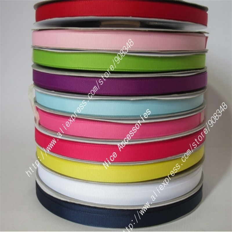 3 8 9mm 100 polyester solid color grosgrain ribbon plain color ribbon Hair bows Accessories 196