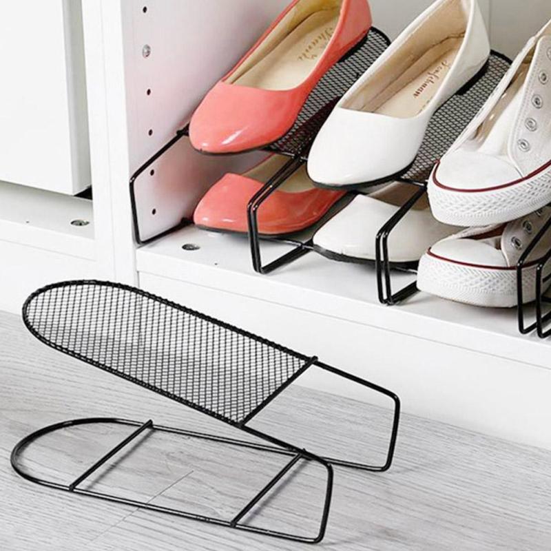 Iron Adjustable Shoe Rack Cabinet Stretcher Wardrobe Shoe
