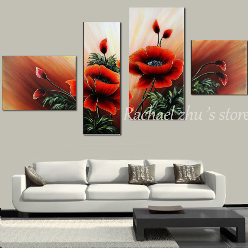 Hand painted abstract 4 panles red poppy flower oil painting on hand painted abstract 4 panles red poppy flower oil painting on canvas abstract red poppy wall pictures living room home decor in painting calligraphy mightylinksfo