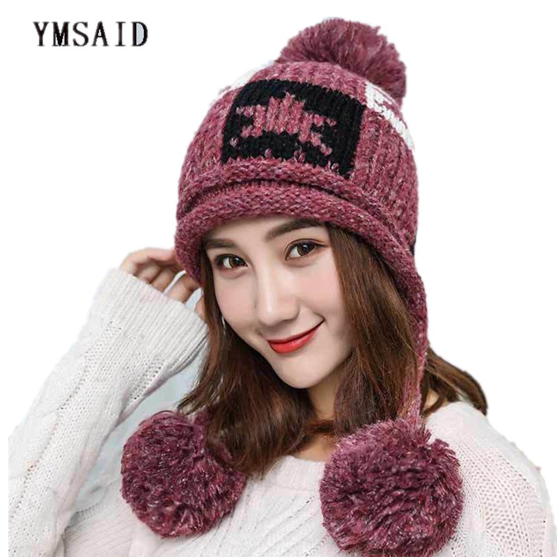 Ymsaid Fashion Knitting Hats2018 Pompon Bobble Hats For Women Girl thickening Warm Hat Autumn Winter Hat Female Skullies Beanies