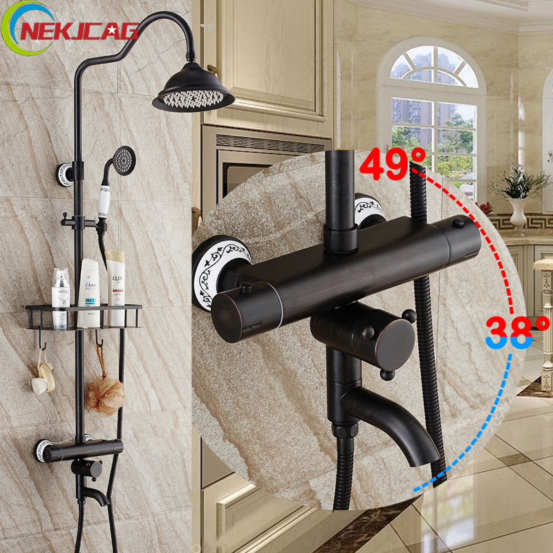 Luxury 8 Black Rainfall Shower Mixers Thermostatic Temperature Control Shower Faucet Rotation Tub Filler + Hand Shower