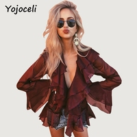 Yojoceli Sexy See Through Ruffled Blouses Shirt Women Casual V Neck Sheer Tops Blouses 2017 Bohemian