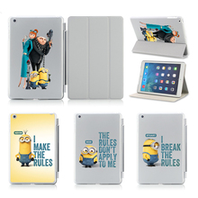 Humorous Bob Kevin Stuart Print Leather-based Case For iPad Air 1 2 Flip Sensible Pill Equipment Sleep Wake Cowl for Apple ipad 5 6