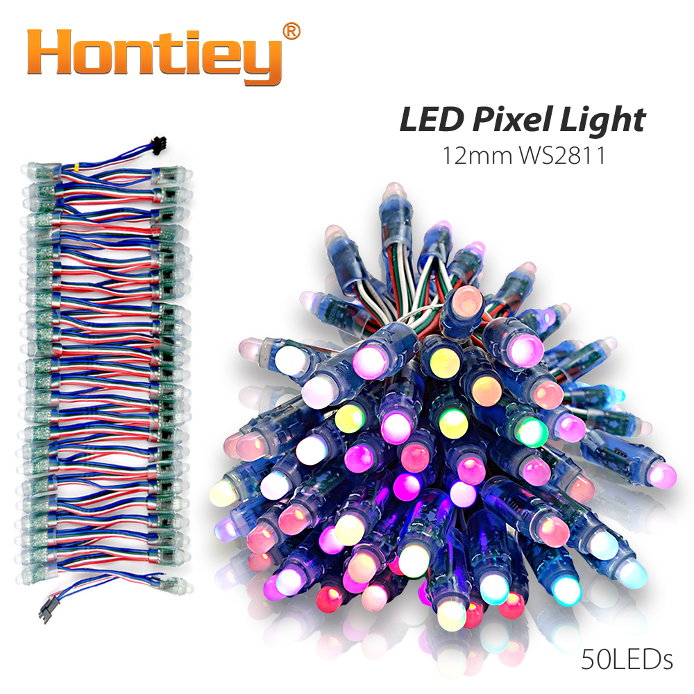 50pcs Hontiey LED Pixel Strip Light Module 12mm WS2811 IC Full Color RGB DC 5V Digital Christmas holiday Lighting String Decor