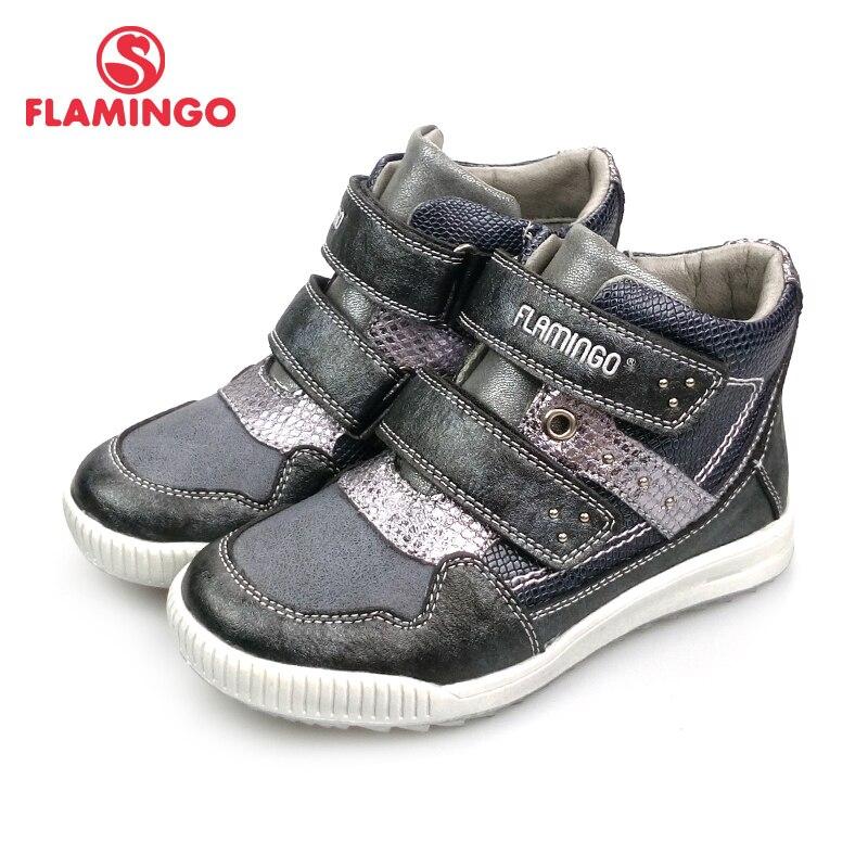 FLAMINGO Russe Marque Automne/hiver Bottes Haute Qualité Crochet et Boucle Anti-slip Enfants Chaussures pour Fille Livraison gratuite 82B-XY-1004