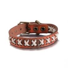 Handmade Rope Wrap Leather Bracelets Bronze Belt Buckle Cowhide Bracelets Retro Casual Jewelry Punk Rock Cuff Bracelet For Men